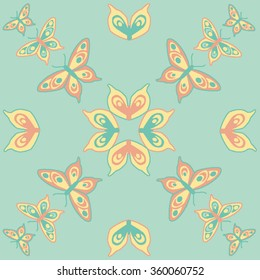 Butterfly seamless pattern in mint, orange and yellow