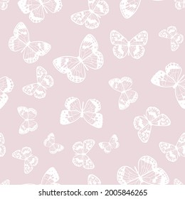 Butterfly seamless repeat pattern design, vector wallpaper, cute girly background. Pastel pink, soft feminine pattern, white butterfly silhouettes.