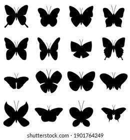 Butterfly set icon, logo isolated on white background