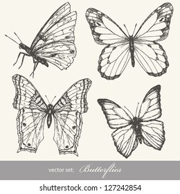 Butterfly set. Insect sketch collection for design and scrapbooking.