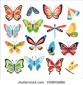 Butterfly set. Vector collection of colorful butterflies isolated on background. Hand drawn spring insects, moth with colorful wings. Drawing vintage flying papillon butterfly. Summer garden insects