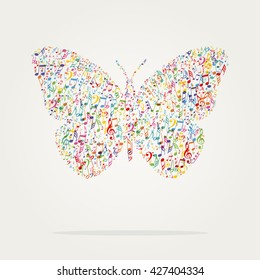 butterfly shape music color with notes