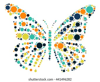 butterfly shape vector design by color point