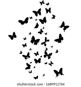 Butterfly silhouette fly, isolated vector