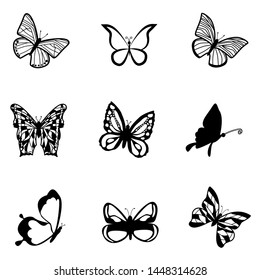 Butterfly silhouette icons set. Vector Illustrations.