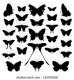 Butterfly silhouette set. Vector. Butterflies icon collection. Isolated on white background.
