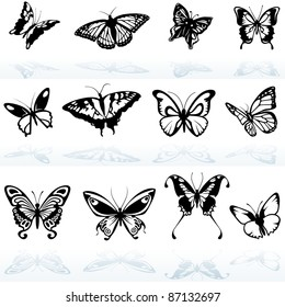Butterfly Silhouettes - detailed illustration, vector