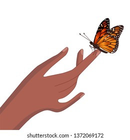 Butterfly sits on hand isolated vector image
