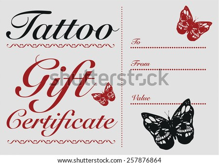 Butterfly Skull Tattoo Gift Card Gift Stock Vector (Royalty Free ...