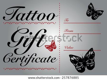 Body art & tattoo artist gift certificate template design.