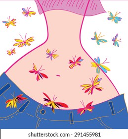 Butterfly in stomach - concept vector illustration.  Hand drawn woman figure. Pop art girl cartoon silhouette. Yong woman belly. Woman body and butterflies. Eps 10.