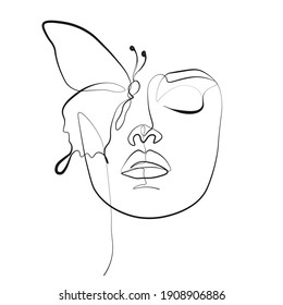 butterfly Surreal Faces Continuous line, drawing of set faces and hairstyle, fashion concept, woman beauty minimalist, vector illustration pretty sexy. Contemporary portrait