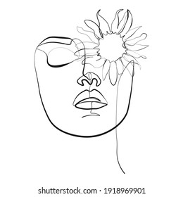 butterfly Surreal Faces Continuous line, drawing of set faces and hairstyle, fashion concept, woman beauty minimalist, vector illustration pretty. Contemporary portrait