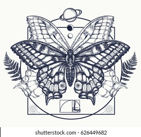 Butterfly tattoo art. Symbol of magic, renaissance, esoterics, travel, soul t-shirt design