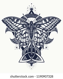 90688e07e Butterfly tattoo celtic style. Hand drawn mystical symbols and insects.  Alchemy, religion,