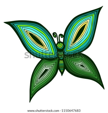 Butterfly Tattoo Coloring Book Adult Kids Stock Vector Royalty Free