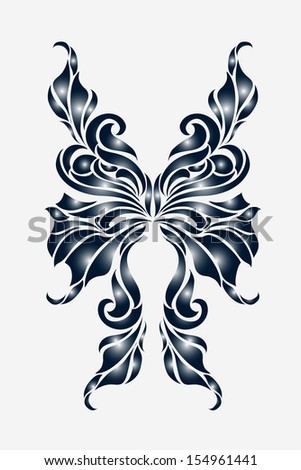 2b789182c Butterfly Tattoo Designvector Stock Vector Royalty Free 154961441. Flowers  And Butterflies Tattoo Best Tattoo Design Ideas