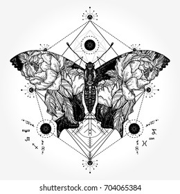 Butterfly tattoo in geometrical style double exposure. Wings and roses, symbol of freedom, travel