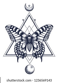 Butterfly tattoo and t-shirt design. Butterfly in triangle, at top is half moon with star, at bottom is full moon. Mystical symbol of soul, immortality, rebirth and resurrection. Sacred geometry