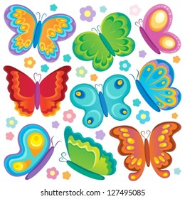 Butterfly theme collection 1 - vector illustration.