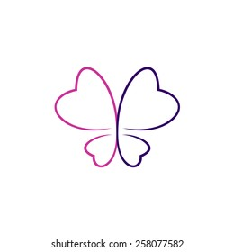 Butterfly thin outlines logo. Elegant contour style in a purple and violet colors.