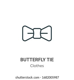 Butterfly tie outline vector icon. Thin line black butterfly tie icon, flat vector simple element illustration from editable clothes concept isolated stroke on white background