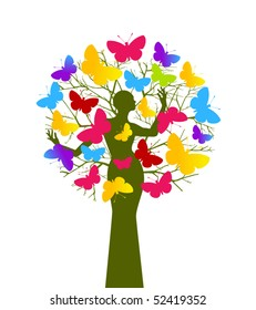 Butterfly tree (woman and tree separate elements - use with or without)