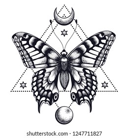 Butterfly in triangle, half moon and moon . Tattoo Design. Mystical symbol of soul, immortality, rebirth and resurrection.