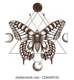 Butterfly in triangle. Moon phases. Sepia color.Tattoo Design. T-shirt design. Mystical symbol of soul, immortality, rebirth and resurrection.