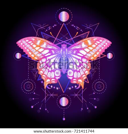 Butterfly Tshirt Design Symbol Freedom Travel Stock Vector Royalty