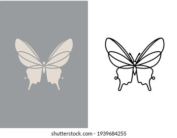 butterfly vector icon in flat and outline on gray and white background