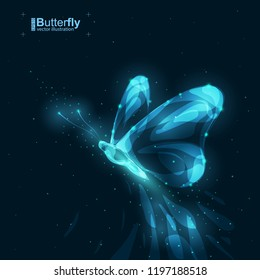 Butterfly vector illustration. Draw with glow lines and dots. Side view. Objects on dark blue background. Wireframe style technology.