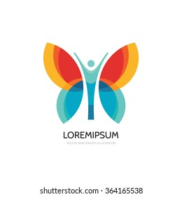 Butterfly vector logo template. Beauty salon - sign creative illustration. Human character. Abstract icon. Design element.