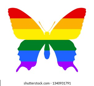 Butterfly vector silhouette over gay flag. Tattoo sign of butterfly with spread wings. Homosexual pride. Lesbian sign. Transsexual flag. Human rights and freedom. Urban LGBT culture.