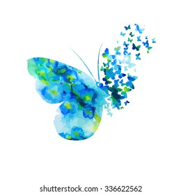 Butterfly from watercolor Flower. Vector