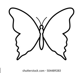 Butterfly winged insect line art vector icon for apps and websites