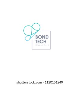 butterfly wings bond logo can be used for a company providing a clouds service or bond