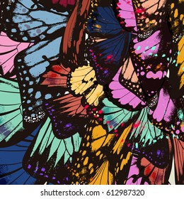 Butterfly wings in colorful style. Ideal for fabric design