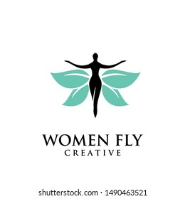 Butterfly Woman with green Leaves logo design icon design inspiration