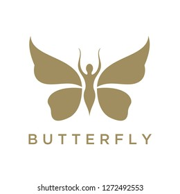 Butterfly Woman with Leaves logo design inspiration, Beautiful Butterfly logo, this logo symbolize, some thing beautiful, soft, calm, nature, metamorphosis, graceful, and elegant.