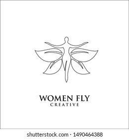 Butterfly Woman with line Leaves logo design icon design inspiration