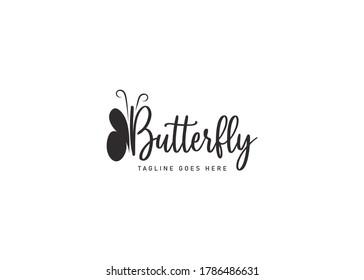 butterfly Word Mark logo design inspiration