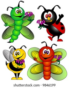 Butterfly,Dragonfly,Ladybug and Bee Vector.