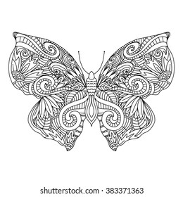 Butterfly.Hand drawn ethnic patterned in doodle, zentangle style. Coloring book page for adults and child- zendala, design for relax and meditation, vector illustration isolated on white background