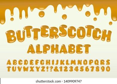 A butterscotch effect alphabet with gooey drips