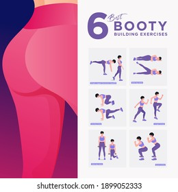 Buttocks fat burning workout Set. Women doing fitness and yoga exercises.