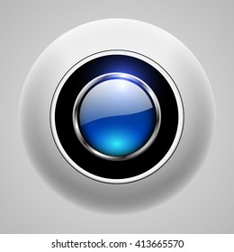 Button 3d blue, shiny vector background.