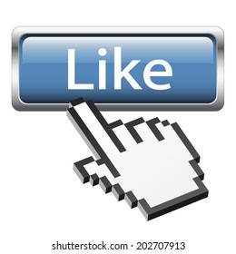 """Button with 3D pixel graphic hand """" Like """""""
