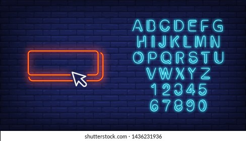 Button and arrow cursor neon sign. Clicking and user interface icons design. Night bright neon sign, colorful billboard, light banner. Vector illustration in neon style.