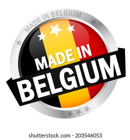 Button with Banner MADE IN BELGIUM